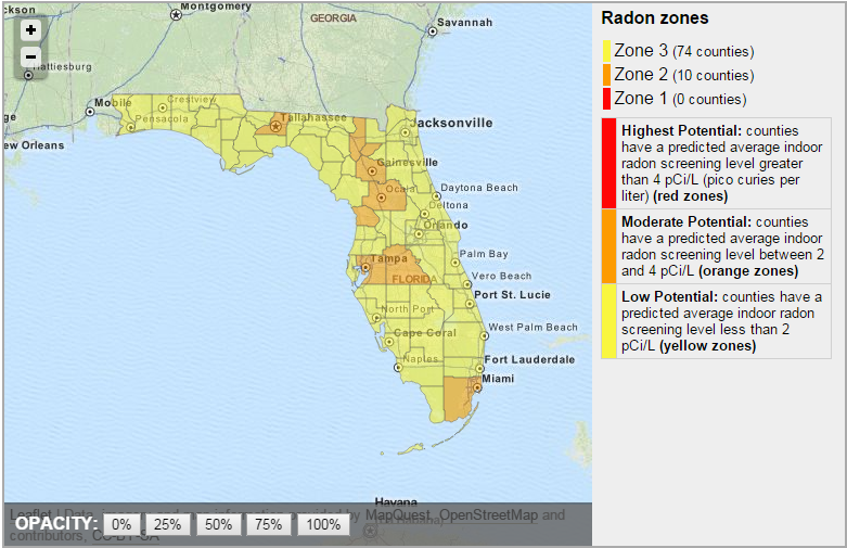 In Florida, one in five homes tested has radon levels above the EPA action level.
